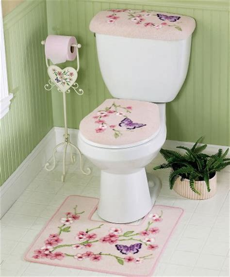 Cherry Blossom Bathroom Set by Area Rug Sets Cherry Blossom Butterflies Pink Commode Set By Collections Etc