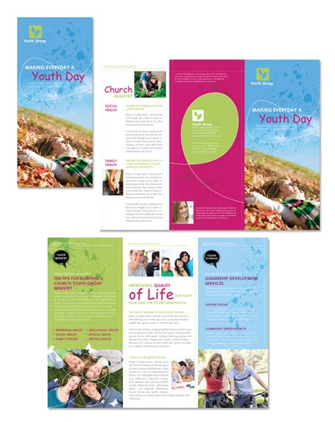 church ministry youth group tri fold brochure template