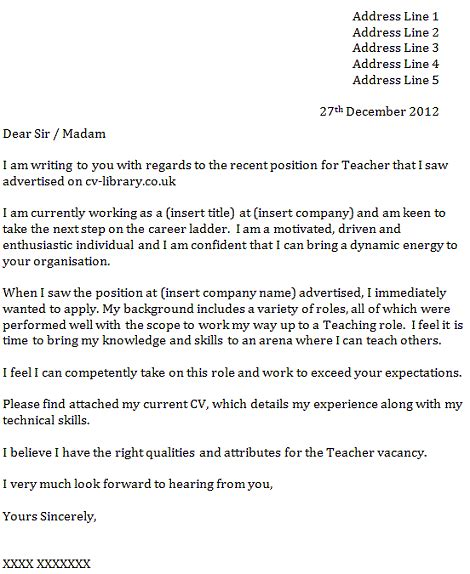cover letter for a teacher icover org uk