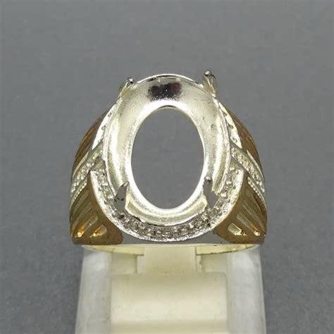 Dijamin Senter Batu Cincin Model Pulpen Silver cincin perak pria combinasi yang elegan pusaka dunia