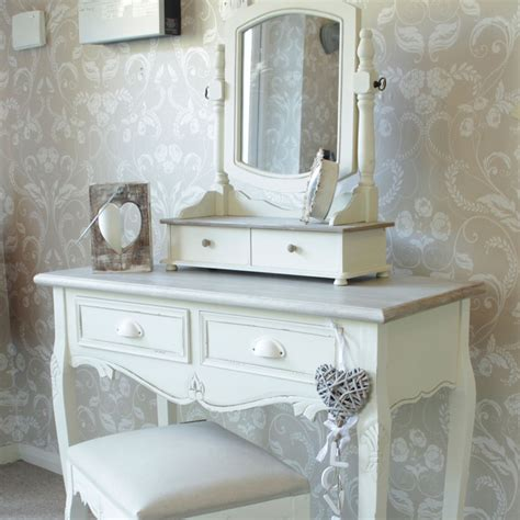 cream wooden dressing table set mirror stool shabby french