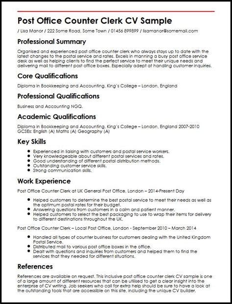 Resume Samples Highlighting Skills by Post Office Counter Clerk Cv Sample Myperfectcv