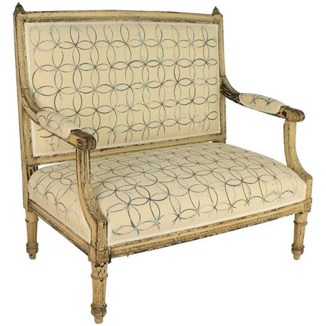 fabric settees louis xvi painted settee upholstered with hand painted