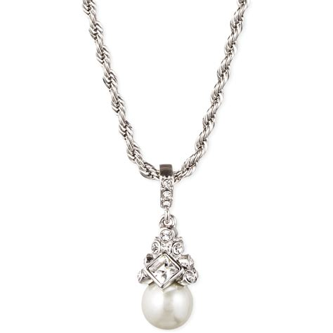 givenchy silver tone and glass pearl pendant