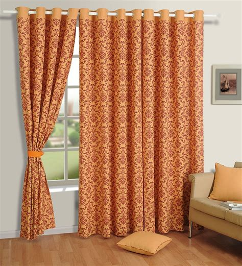 rust drapes swayam rust orange printed eyelet window curtain 5 ft by