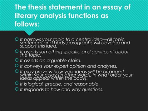 literary analysis thesis exles how to write the thesis statement presentation