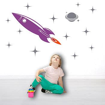 space rocket wall stickers space rocket wall sticker by snuggledust studios