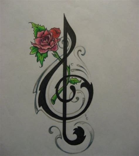 music note and rose tattoo note with musical