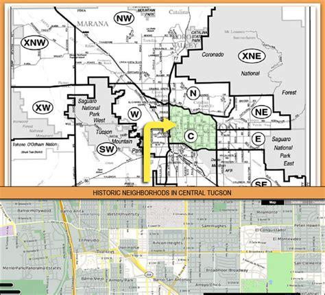 map of central neighborhoods central tucson neighborhoods mvp consulting llc