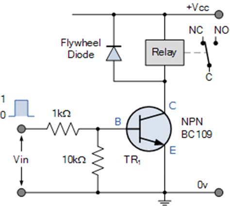 transistor emergency turn relay switch circuit and relay switching circuit