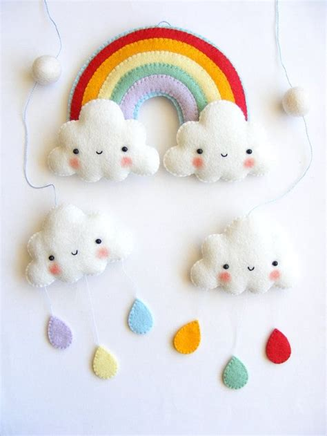 felt pattern mobile pdf pattern rainbow and clouds baby crib mobile felt