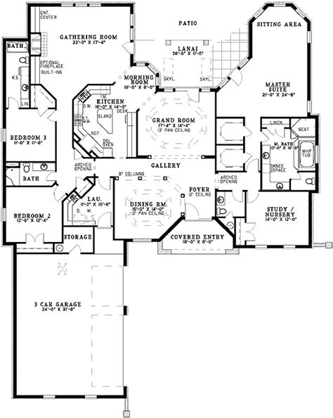 single level home plans single level florida home plan 59171nd cad available