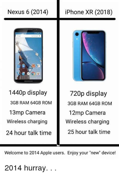 nexus 6 2014 iphone xr 2018 1440p display 3gb ram 64gb rom 13mp 720p display 3gb ram 64gb