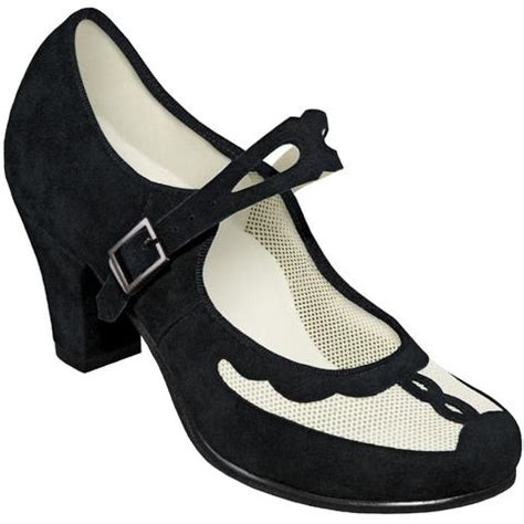 swing shoe aris allen black and ivory 1940s velvet and mesh mary jane