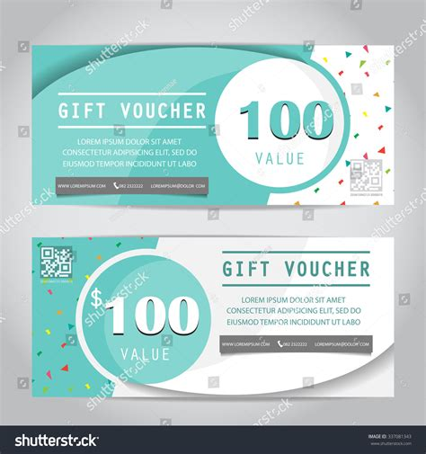 Confetti Gift Voucher Certificate Coupon Template Stock Vector 337081343 Shutterstock Shopping Gift Certificate Template