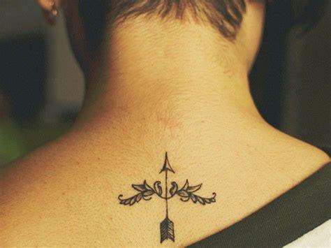 small sagittarius tattoos sagittarius small arrow on back of the neck