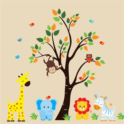 jungle animals wall stickers blue jungle animals and tree wall decals