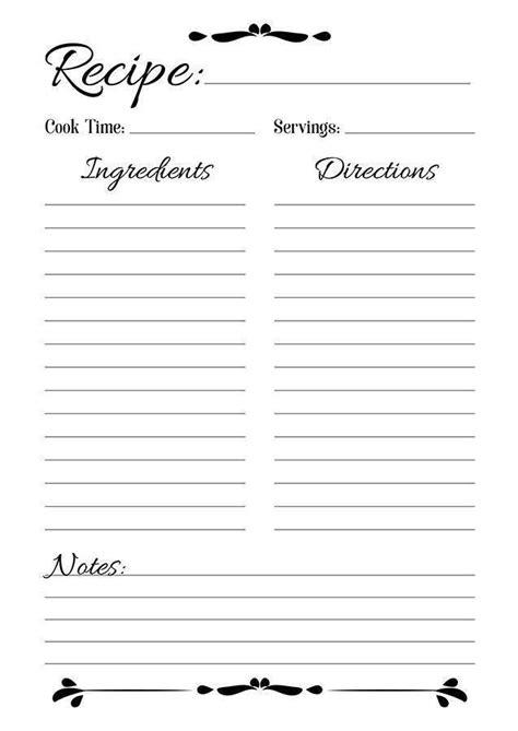 printable recipe card template for mac recipe sheet printable the digital shop