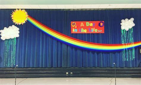st grade program stage decorations tulle rainbow