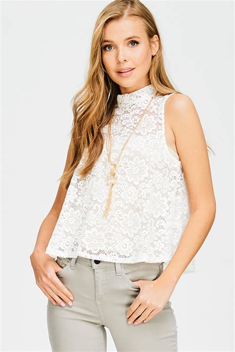 Mock Neck Lace Sheer Top shop ivory white sheer lace sleeveless mock neck chain