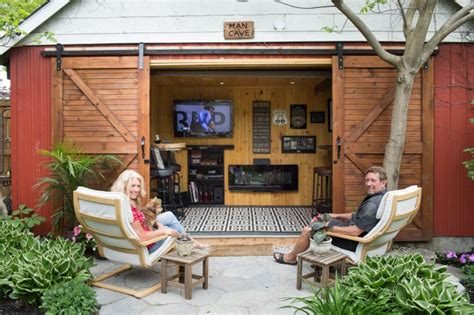 Backyard Shed Cave by Flat Screen Tvs Comfy Chairs Pub Bars Torontonians Take