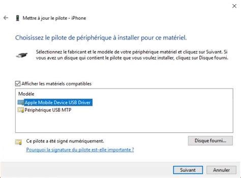 apple mobile device support installer comment installer quot apple mobile device usb driver quot sur mon