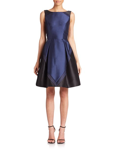 color block cocktail dress theia colorblock cocktail dress in blue lyst