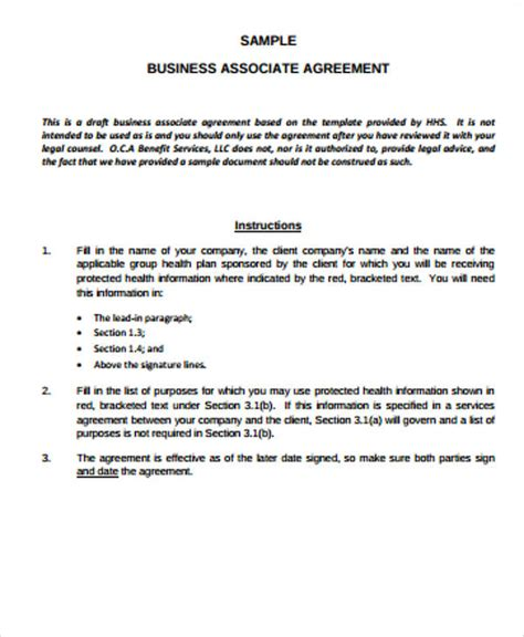 9 Sle Business Associate Agreements Sle Templates Free Business Associate Agreement Template 2017