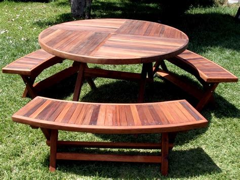 round bench redwood round folding picnic table with arc benches