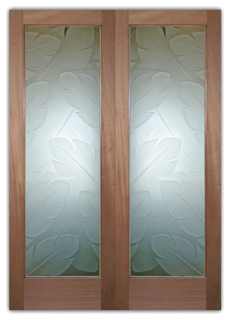 Exterior Doors Glass Glass Front Entry Doors Frosted Obscure Etched Glass Banana Leaves 3d 100 P Tropical