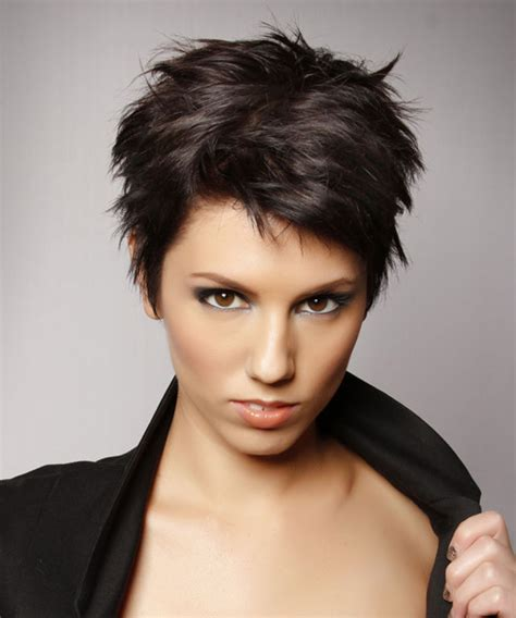 short straight casual layered pixie hairstyle dark mocha