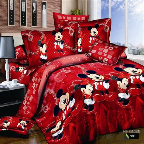 mickey mouse bed set full size red mickey mouse 4pcs bedding set full queen king size