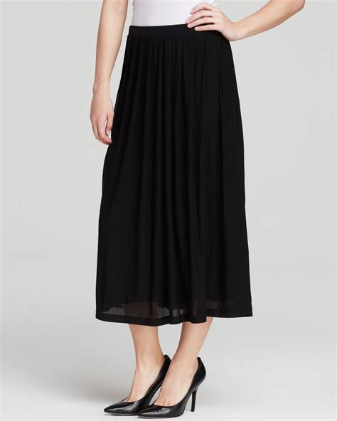 eileen fisher pleated silk skirt in black lyst