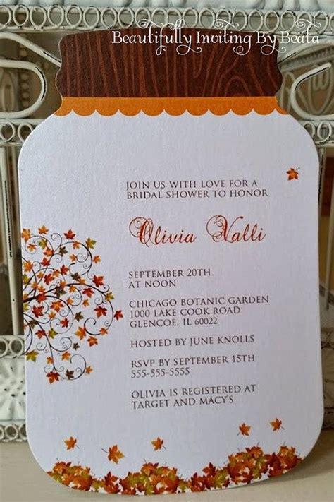 fall bridal shower recipes jar invitation rustic fall leaves bridal shower