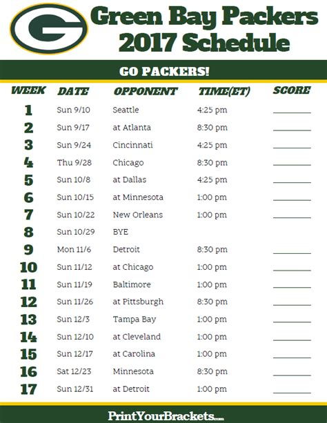 printable nfl schedule 2017 2017 green bay packers football schedule printable nfl
