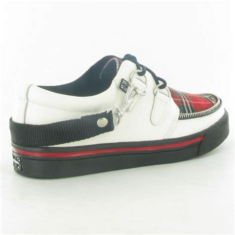 t u k creeper sneaker creeper shoes in white tartan