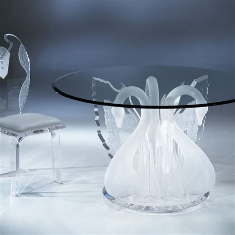 acrylic clear legend swan dining table with glass top