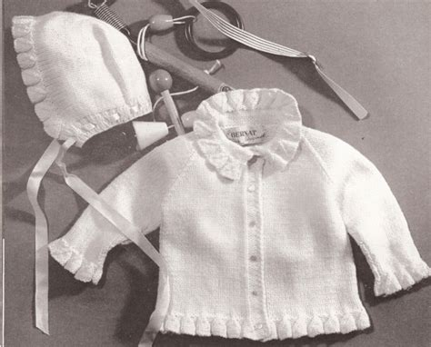 vintage knitting patterns for babies vintage baby knit ruffle sweater hat pattern sz 1 2 3 ebay