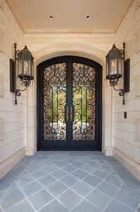 Ornate Front Doors Custom Ornate Wrought Iron Glass Front Entry Door Gas Lanterns Mediterranean Entry
