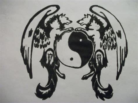tribal wolf tattoo ying and yang drawing