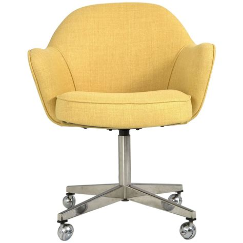 knoll desk chair in yellow microfiber for sale at 1stdibs