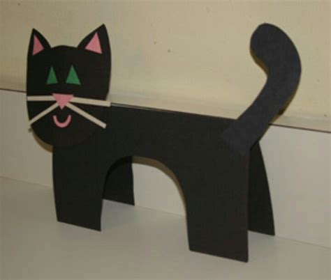 Black Cat Papercraft - 3d black cat craft daycare autumn sept nov