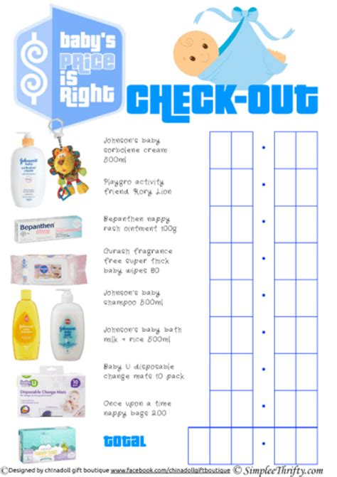 Price Is Right Baby Shower Theme Simplee Thrifty Price Is Right Baby Shower Free Template