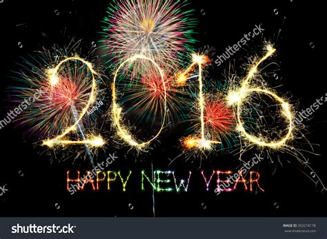new year light up 2016 happy new year 2016 from colorful sparkle on black
