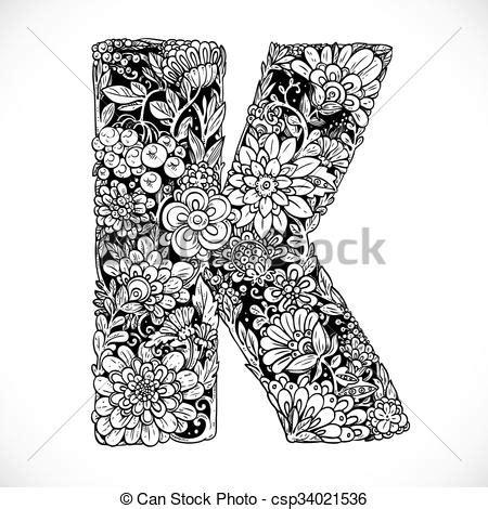 doodles font from ornamental flowers letter k black and