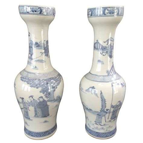 unusual vases unusual pair of chinese export blue and white vases for