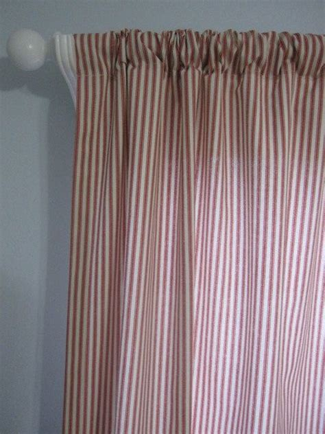 Ticking Stripe Curtains 2 Curtains Drapes Window Curtains Set Of 2 Terracotta Ticking Stri