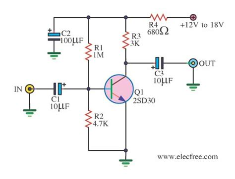 transistor guitar lifier schematic gt circuits gt simple prelifier circuits by transistors l40896 next gr