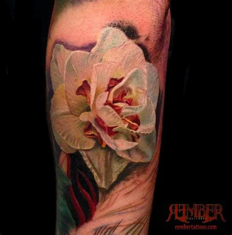 rember tattoo instagram white flower color realism by rember tattoos