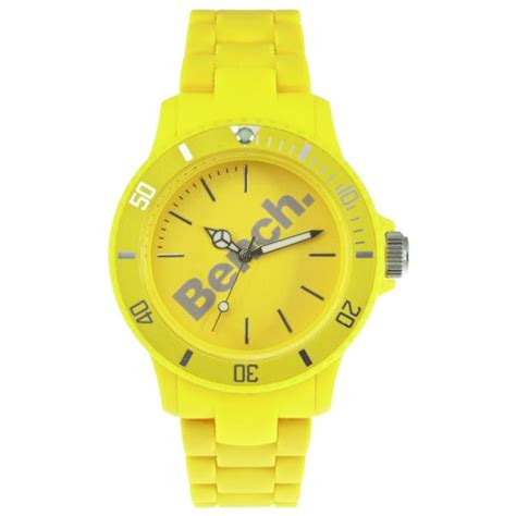 bench watches for women bench women s plastic yellow bracelet strap watch